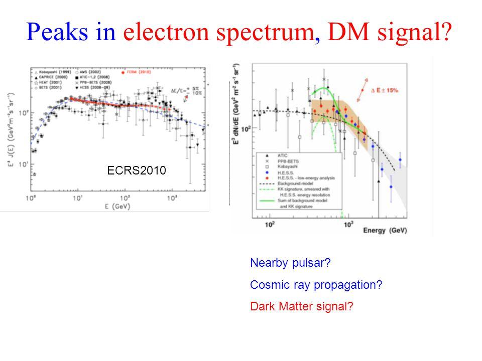Peaks in electron spectrum, DM signal? ECRS2010 Nearby pulsar? Cosmic ray propagation? Dark Matter signal?