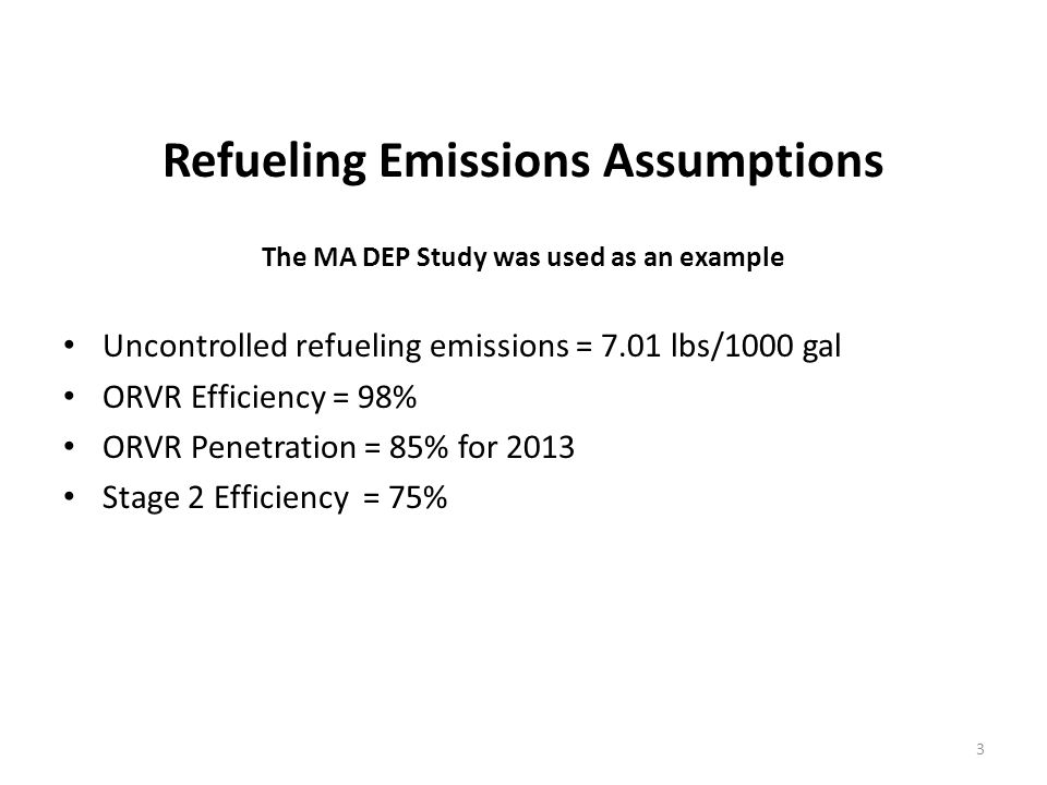 Refueling Emissions Assumptions The MA DEP Study was used as an example Uncontrolled refueling emissions = 7.01 lbs/1000 gal ORVR Efficiency = 98% ORVR Penetration = 85% for 2013 Stage 2 Efficiency = 75% 3
