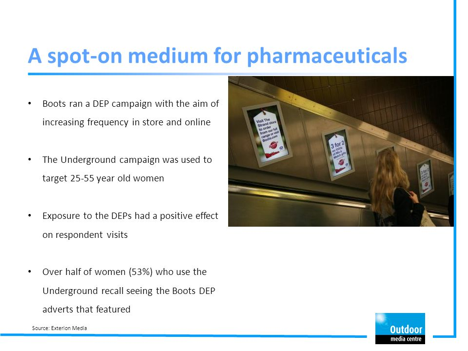 Boots ran a DEP campaign with the aim of increasing frequency in store and online The Underground campaign was used to target 25-55 year old women Exp