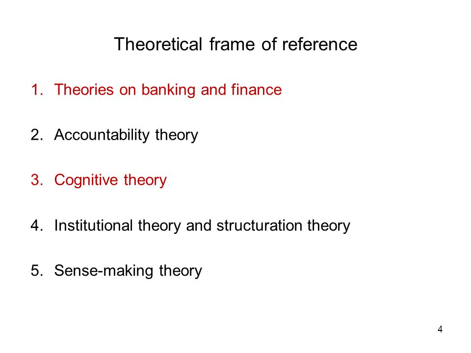 4 Theoretical frame of reference 1.Theories on banking and finance 2.Accountability theory 3.Cognitive theory 4.Institutional theory and structuration
