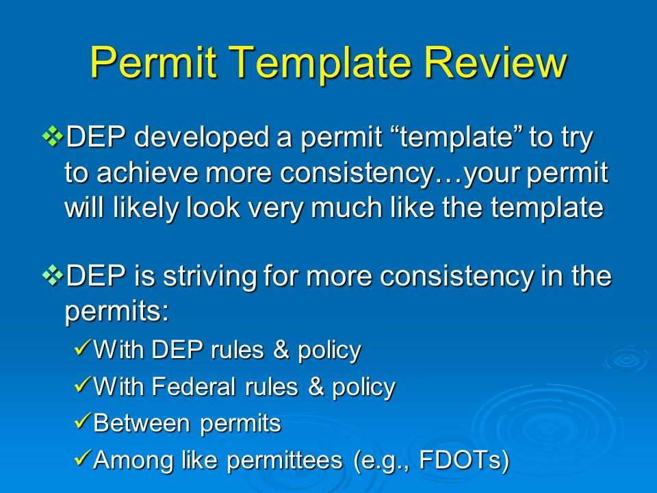 Permit Template Review  DEP developed a permit template to try to achieve more consistency…your permit will likely look very much like the template  DEP is striving for more consistency in the permits: With DEP rules & policy With DEP rules & policy With Federal rules & policy With Federal rules & policy Between permits Between permits Among like permittees (e.g., FDOTs) Among like permittees (e.g., FDOTs)