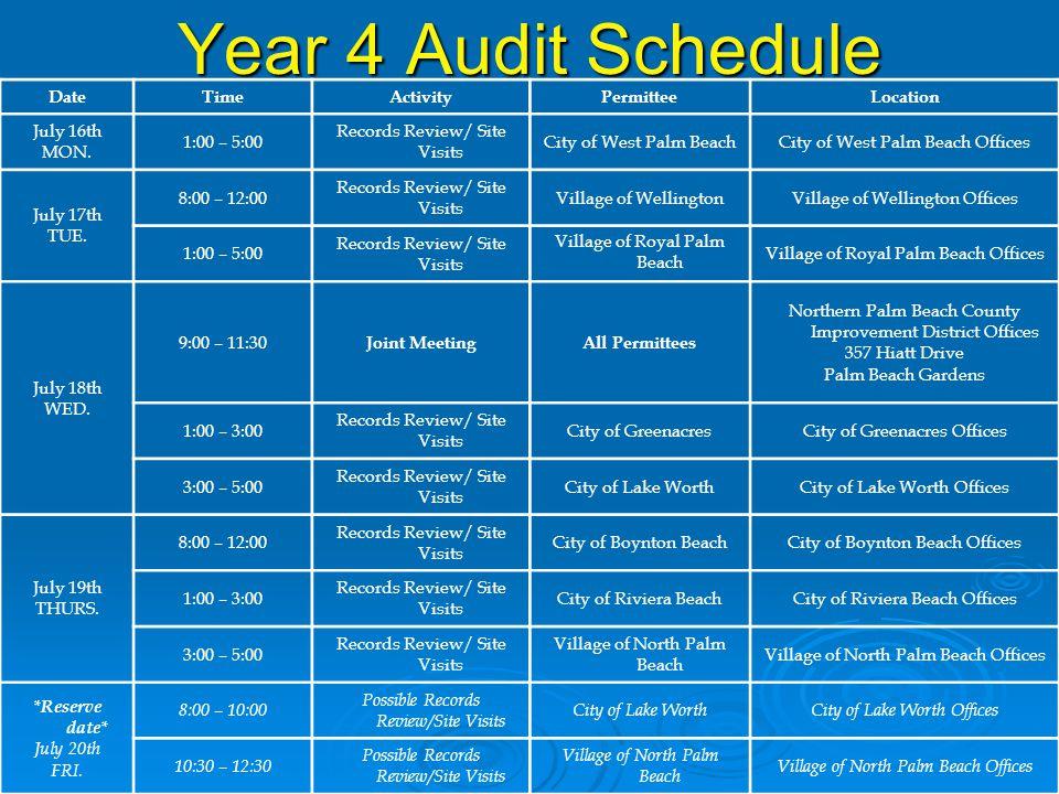 Year 4 Audit Schedule DateTimeActivityPermitteeLocation July 16th MON.