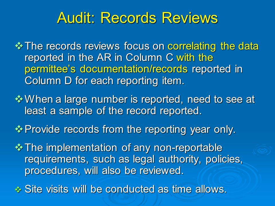 Audit: Records Reviews  The records reviews focus on correlating the data reported in the AR in Column C with the permittee's documentation/records reported in Column D for each reporting item.