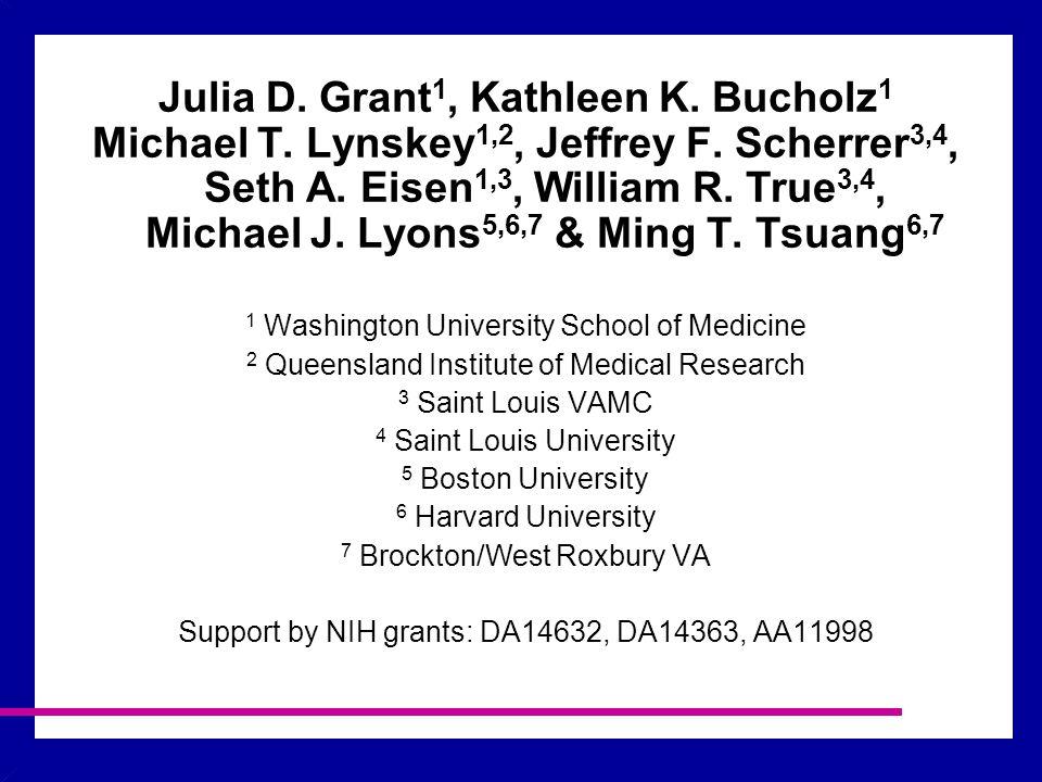 Julia D. Grant 1, Kathleen K. Bucholz 1 Michael T.