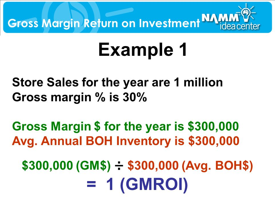 Example 1 Store Sales for the year are 1 million Gross margin % is 30% Gross Margin $ for the year is $300,000 Avg. Annual BOH Inventory is $300,000 $