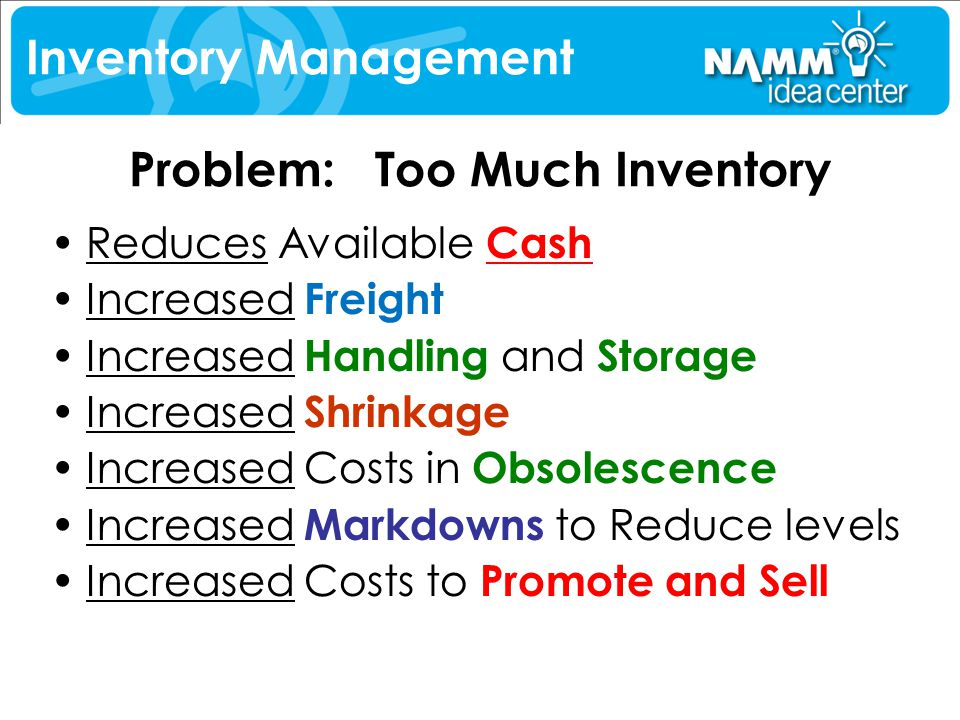 Problem: Too Much Inventory Reduces Available Cash Increased Freight Increased Handling and Storage Increased Shrinkage Increased Costs in Obsolescenc