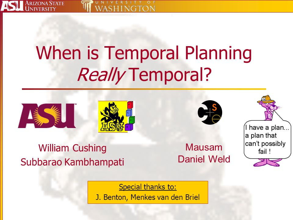 When is Temporal Planning Really Temporal? William Cushing Subbarao Kambhampati Special thanks to: J. Benton, Menkes van den Briel Mausam Daniel Weld