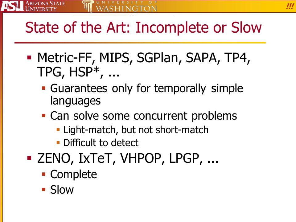 State of the Art: Incomplete or Slow  Metric-FF, MIPS, SGPlan, SAPA, TP4, TPG, HSP*,...  Guarantees only for temporally simple languages  Can solve