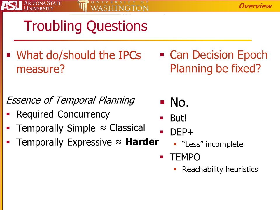 Troubling Questions  What do/should the IPCs measure? Essence of Temporal Planning  Required Concurrency  Temporally Simple  Temporally Expressive
