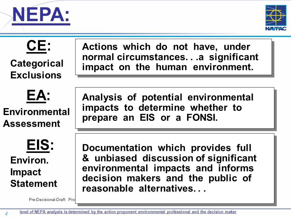 4 Pre-Decisional-Draft Proposal CE: EA: EIS: Actions which do not have, under normal circumstances...a significant impact on the human environment. An