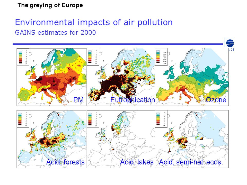 Environmental impacts of air pollution GAINS estimates for 2000 PMEutrophicationOzone Acid, forestsAcid, lakesAcid, semi-nat.