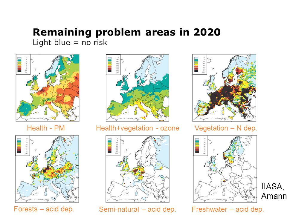 [Title] [Lecturer], [Date] Remaining problem areas in 2020 Light blue = no risk Forests – acid dep.