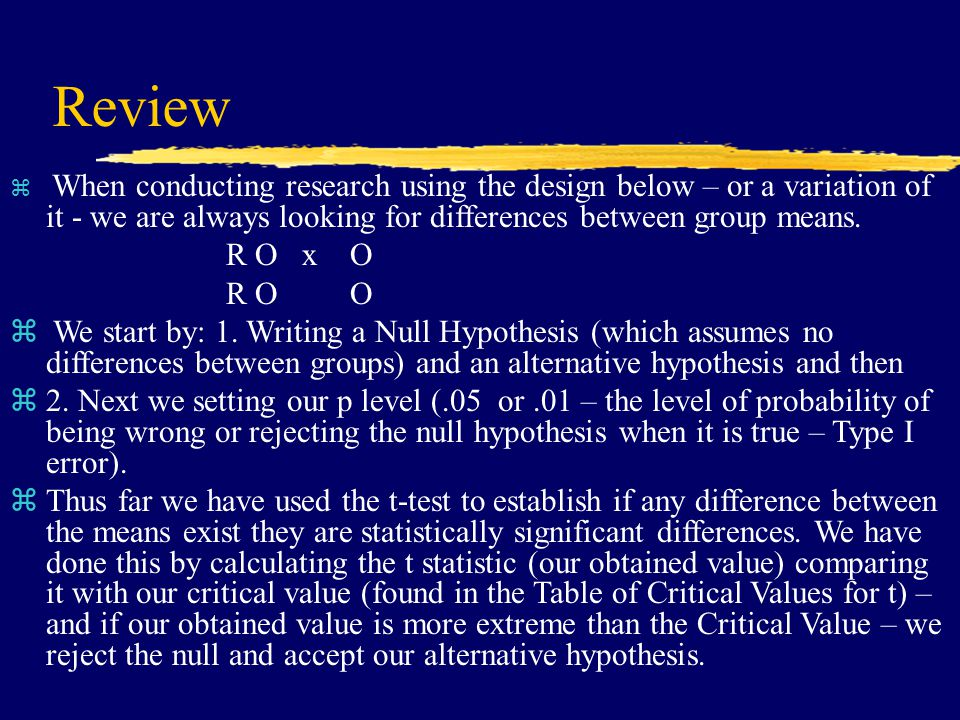 Review z When conducting research using the design below – or a variation of it - we are always looking for differences between group means.