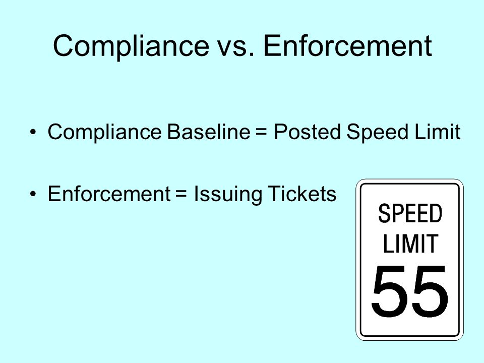 Compliance vs. Enforcement Compliance Baseline = Posted Speed Limit Enforcement = Issuing Tickets
