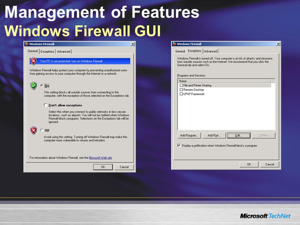 Management of Features Windows Firewall GUI