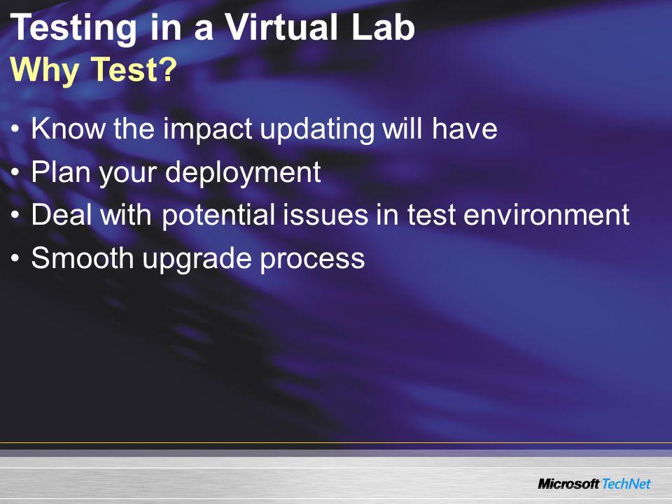 Testing in a Virtual Lab Why Test.