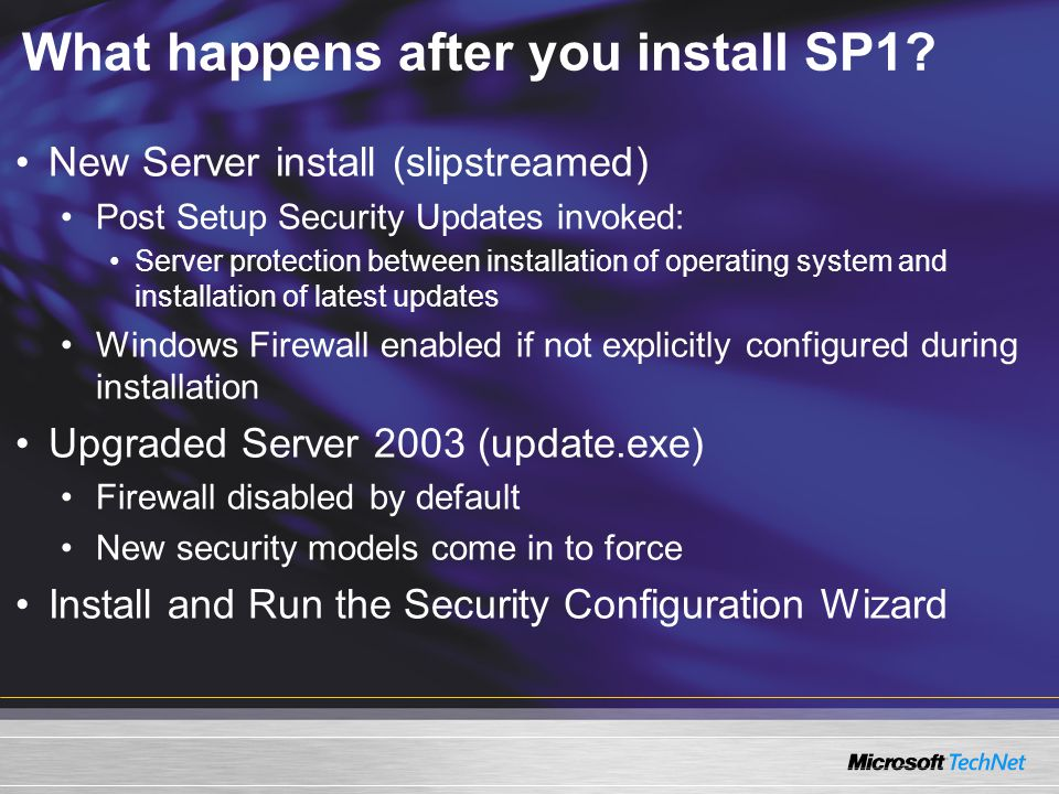 Post Setup Security Updates The PSSU interface enables Administrators to safely install product updates after an initial installation of Windows Server 2003 and SP1 Appears on Administrator Logon or due to a product update installation or other maintenance Windows Firewall is turned off and the service disabled when the Finish button is clicked