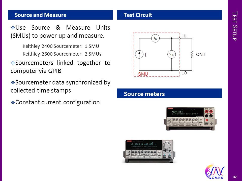 T EST S ETUP  Source and Measure  Test Circuit  Source meters 32  Use Source & Measure Units (SMUs) to power up and measure.