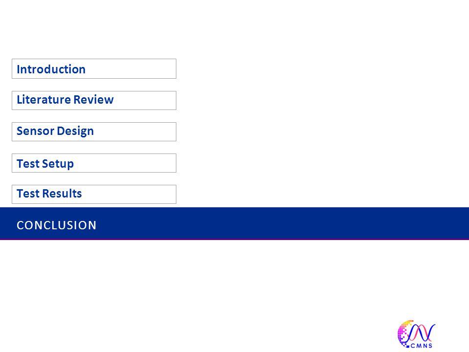 CONCLUSION Introduction Literature Review Sensor Design Test Setup Test Results 49