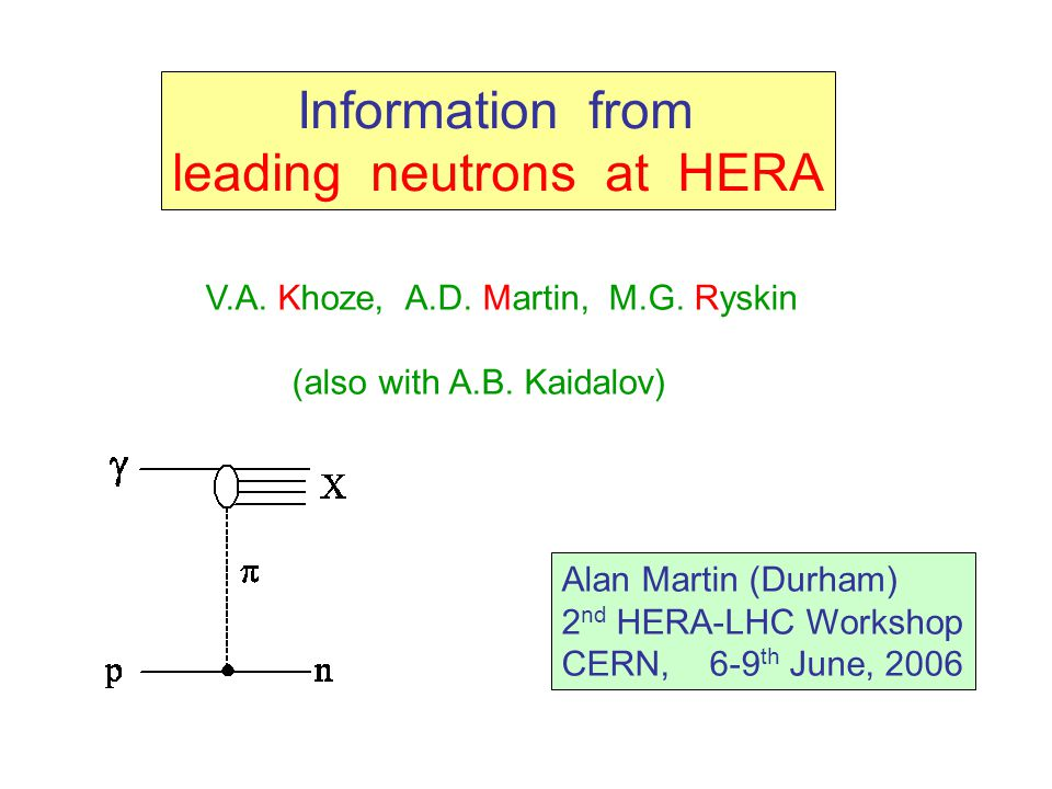 Information from leading neutrons at HERA V.A.Khoze, A.D.