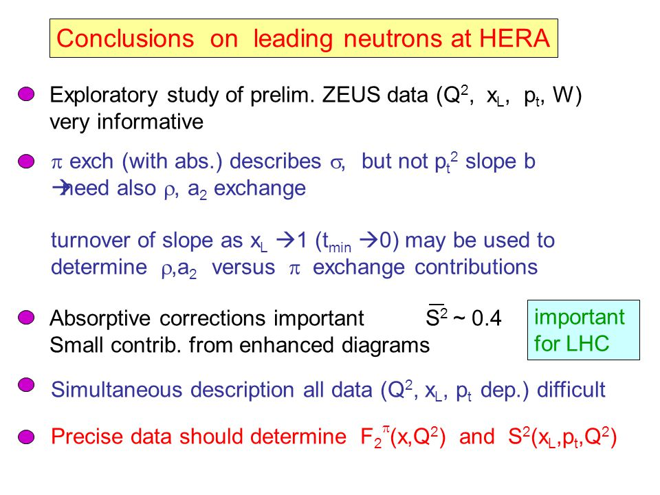 Conclusions on leading neutrons at HERA Exploratory study of prelim.