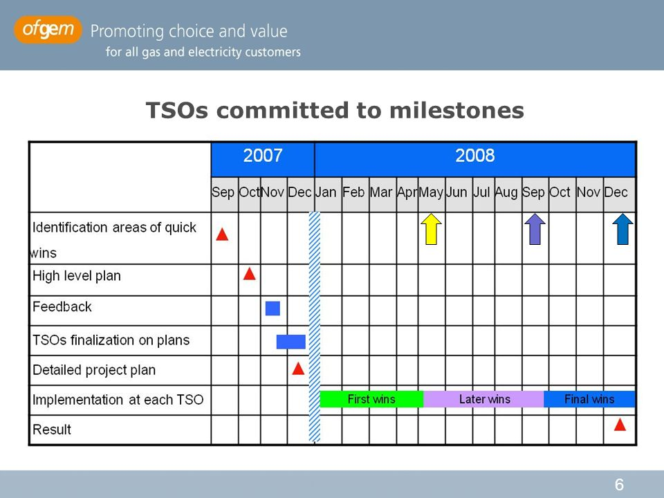 6 TSOs committed to milestones