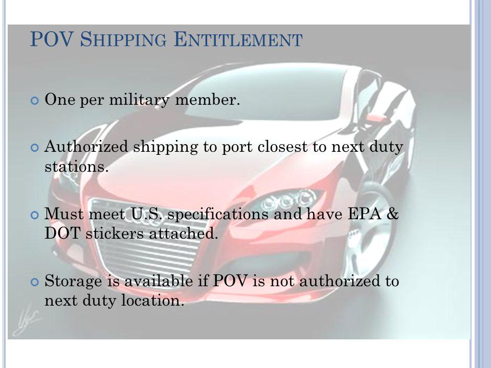 POV S HIPPING E NTITLEMENT One per military member.