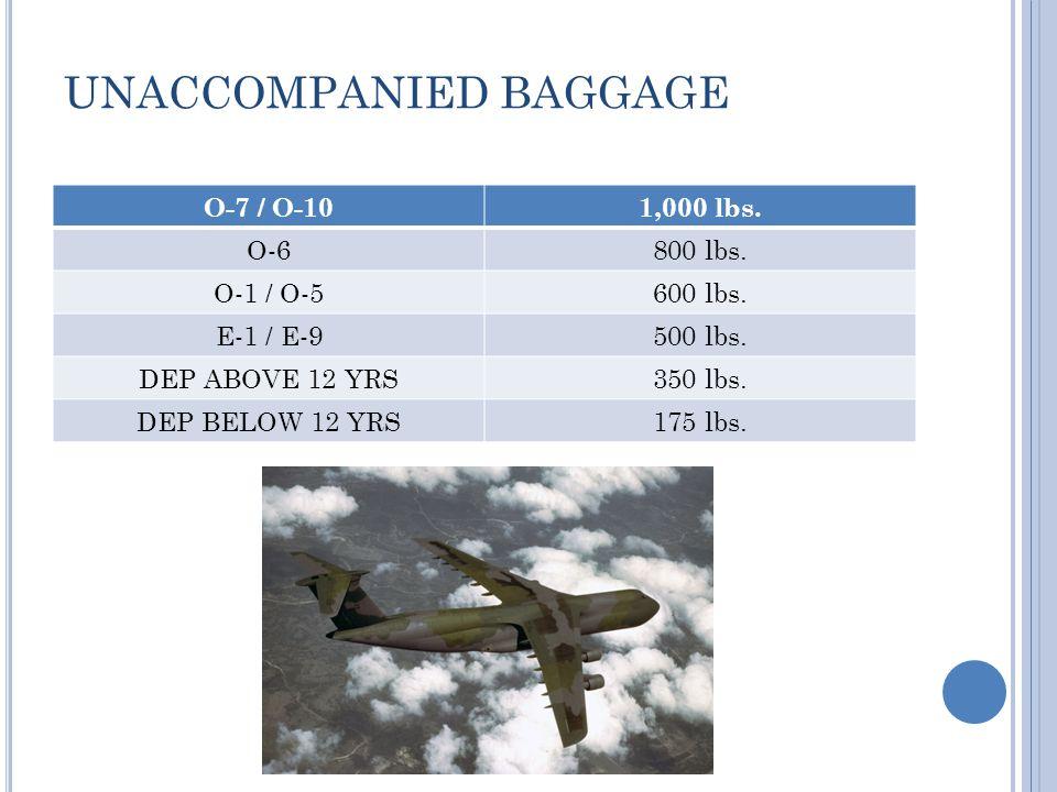 UNACCOMPANIED BAGGAGE O-7 / O-101,000 lbs. O-6800 lbs.