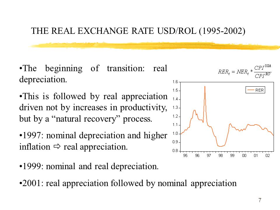 7 THE REAL EXCHANGE RATE USD/ROL (1995-2002) The beginning of transition: real depreciation.