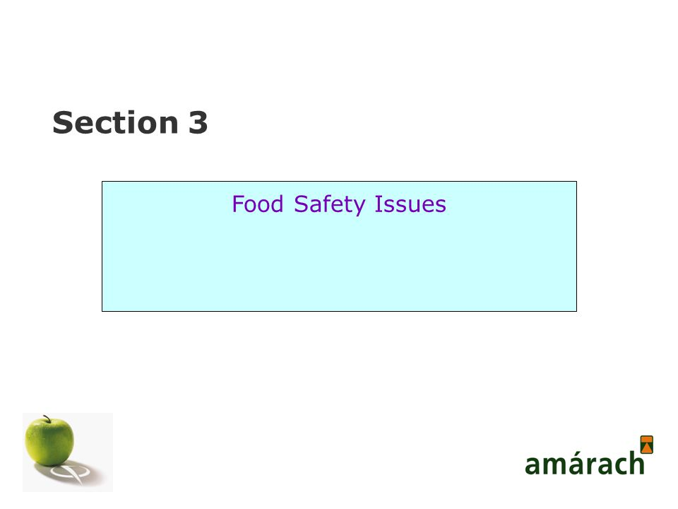 Section 3 Food Safety Issues