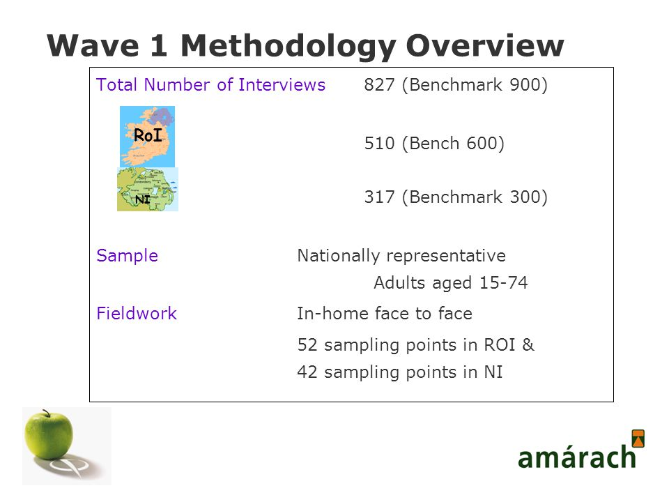 Wave 1 Methodology Overview Total Number of Interviews 827 (Benchmark 900) 510 (Bench 600) 317 (Benchmark 300) SampleNationally representative Adults aged 15-74 FieldworkIn-home face to face 52 sampling points in ROI & 42 sampling points in NI RoI NI