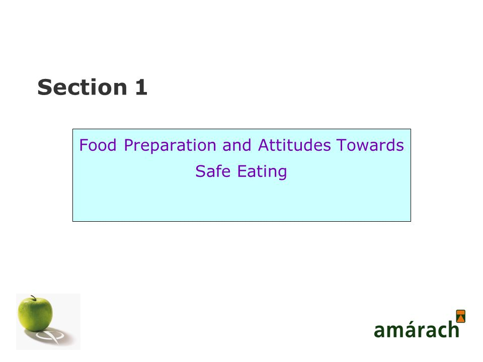 Section 1 Food Preparation and Attitudes Towards Safe Eating