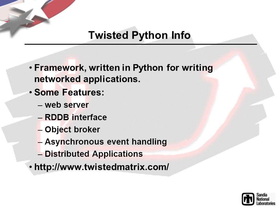 APItest v0.1.2 Overview Continuing work with APItest v0.1.2 –HTTP Interface development –Test Types Shell Script Extensability (define new types easily) –3rd party libraries Twisted Python http://www.effbot.org/ (elementtree)http://www.effbot.org/ Now available via Sandia FTP: –ftp://ftp.sandia.gov/outgoing/apitest/ftp://ftp.sandia.gov/outgoing/apitest/ –Posted in SciDAC notes
