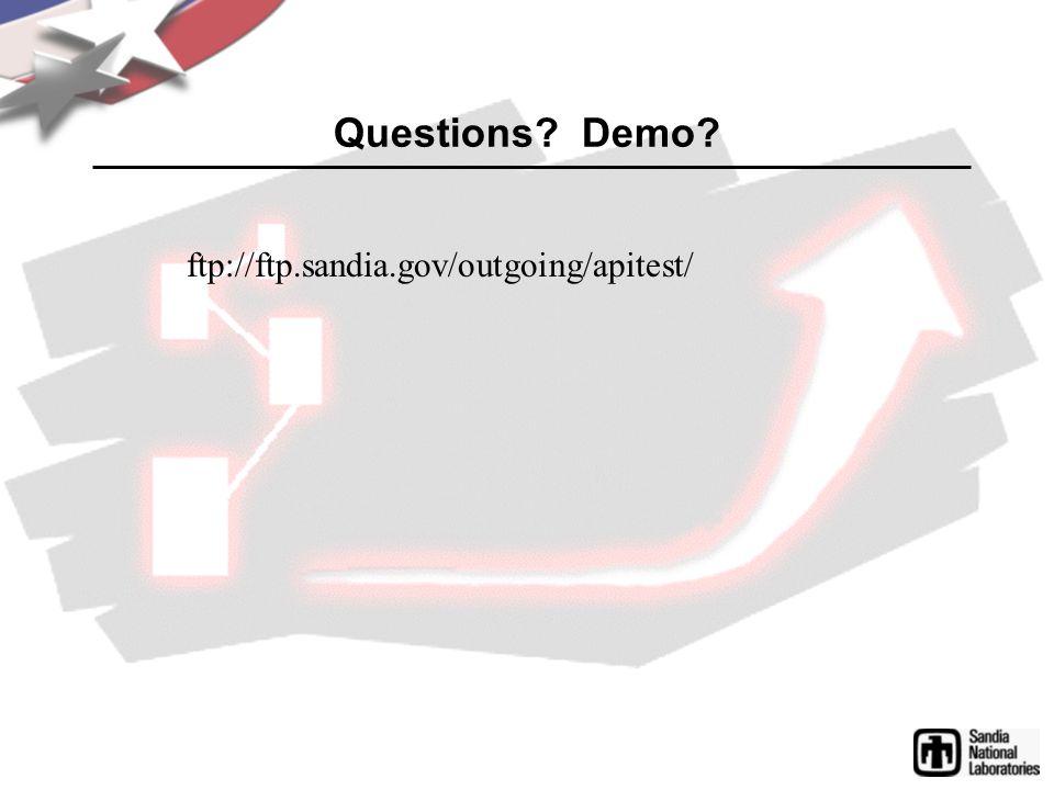 Questions Demo ftp://ftp.sandia.gov/outgoing/apitest/