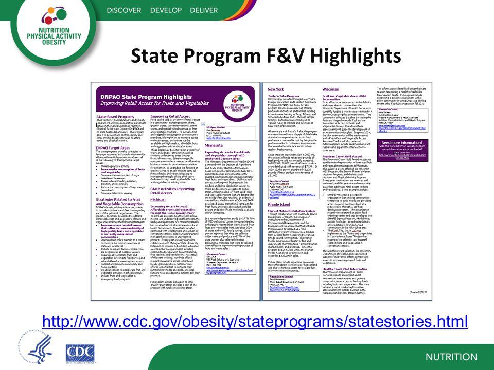 State Program F&V Highlights http://www.cdc.gov/obesity/stateprograms/statestories.html
