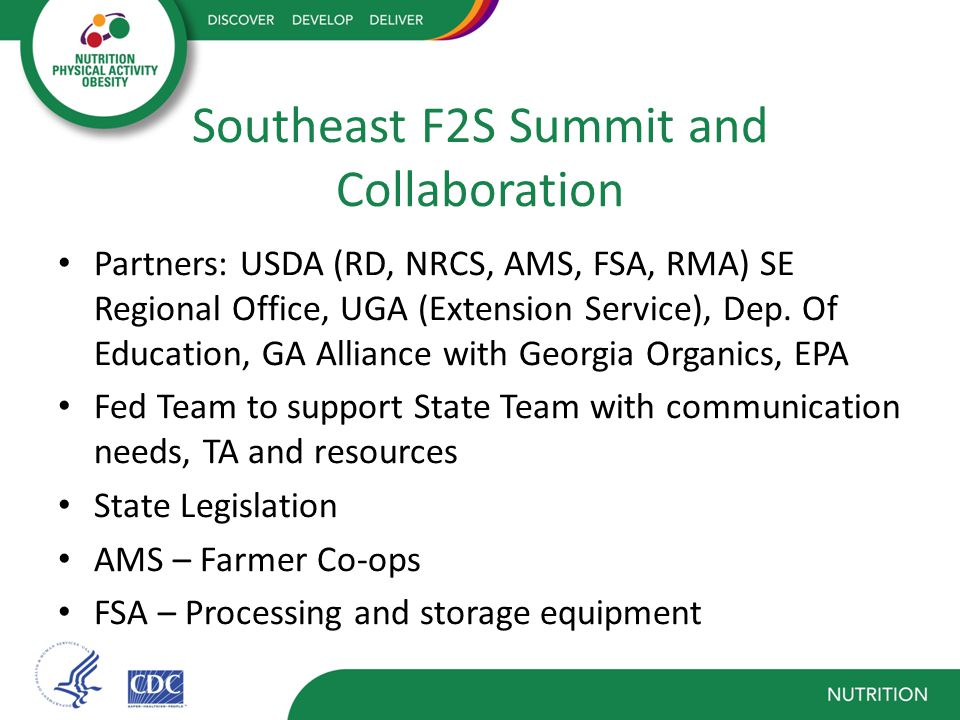 Southeast F2S Summit and Collaboration Partners: USDA (RD, NRCS, AMS, FSA, RMA) SE Regional Office, UGA (Extension Service), Dep.