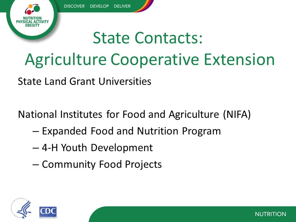 State Contacts: Agriculture Cooperative Extension State Land Grant Universities National Institutes for Food and Agriculture (NIFA) – Expanded Food and Nutrition Program – 4-H Youth Development – Community Food Projects