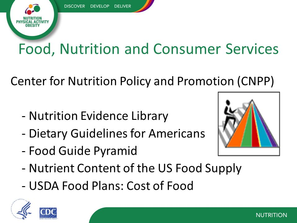 Food, Nutrition and Consumer Services Center for Nutrition Policy and Promotion (CNPP) - Nutrition Evidence Library - Dietary Guidelines for Americans - Food Guide Pyramid - Nutrient Content of the US Food Supply - USDA Food Plans: Cost of Food