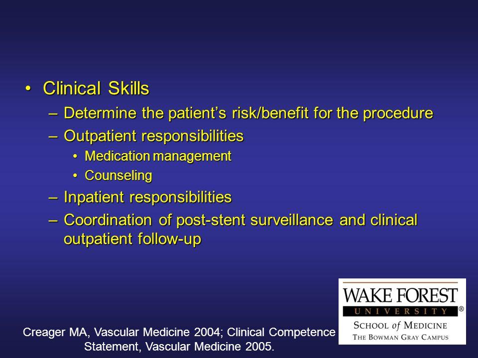 Creager MA, Vascular Medicine 2004; Clinical Competence Statement, Vascular Medicine 2005.