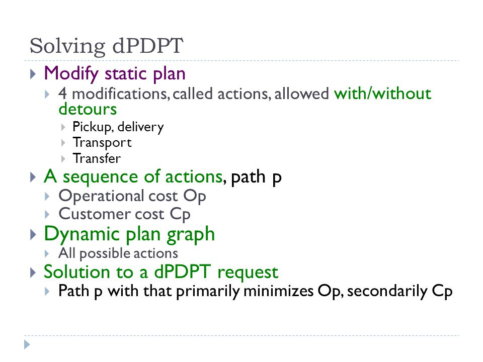 Solving dPDPT  Modify static plan  4 modifications, called actions, allowed with/without detours  Pickup, delivery  Transport  Transfer  A seque