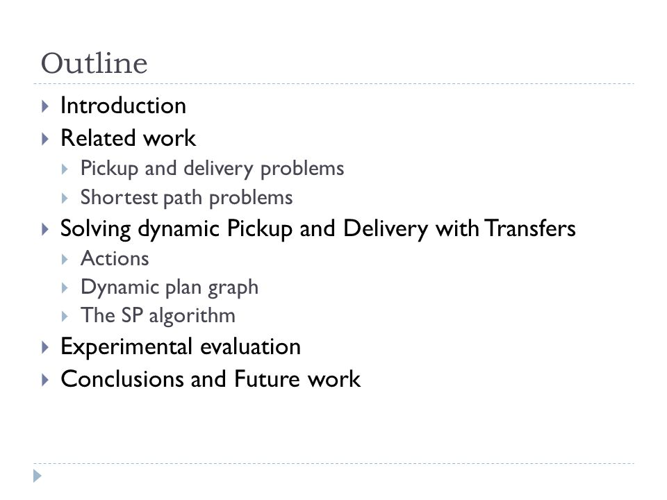 Outline  Introduction  Related work  Pickup and delivery problems  Shortest path problems  Solving dynamic Pickup and Delivery with Transfers  A