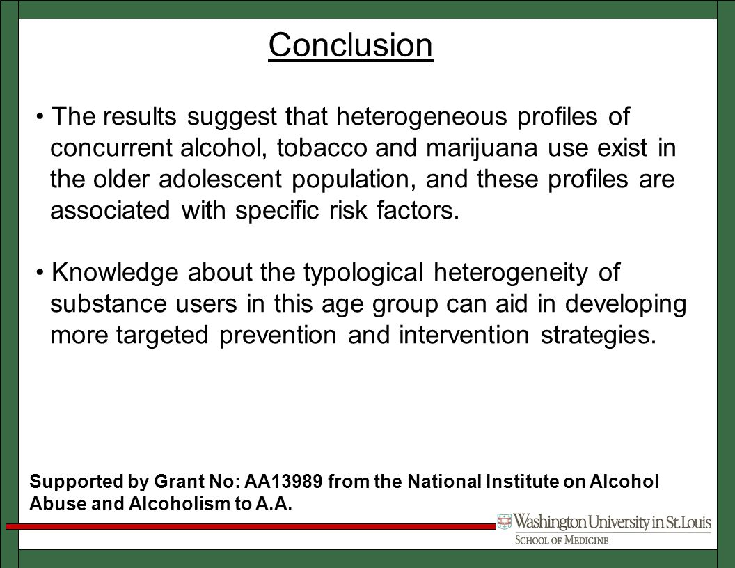 Conclusion Supported by Grant No: AA13989 from the National Institute on Alcohol Abuse and Alcoholism to A.A.
