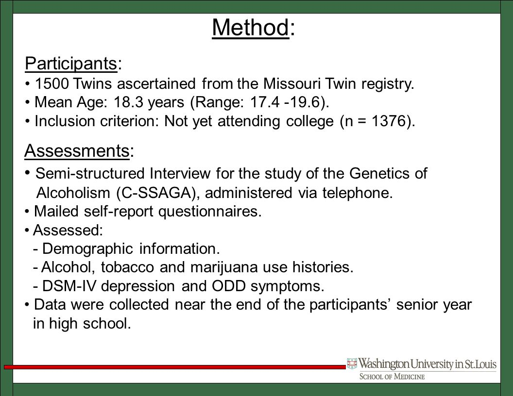 Method: Participants: 1500 Twins ascertained from the Missouri Twin registry.