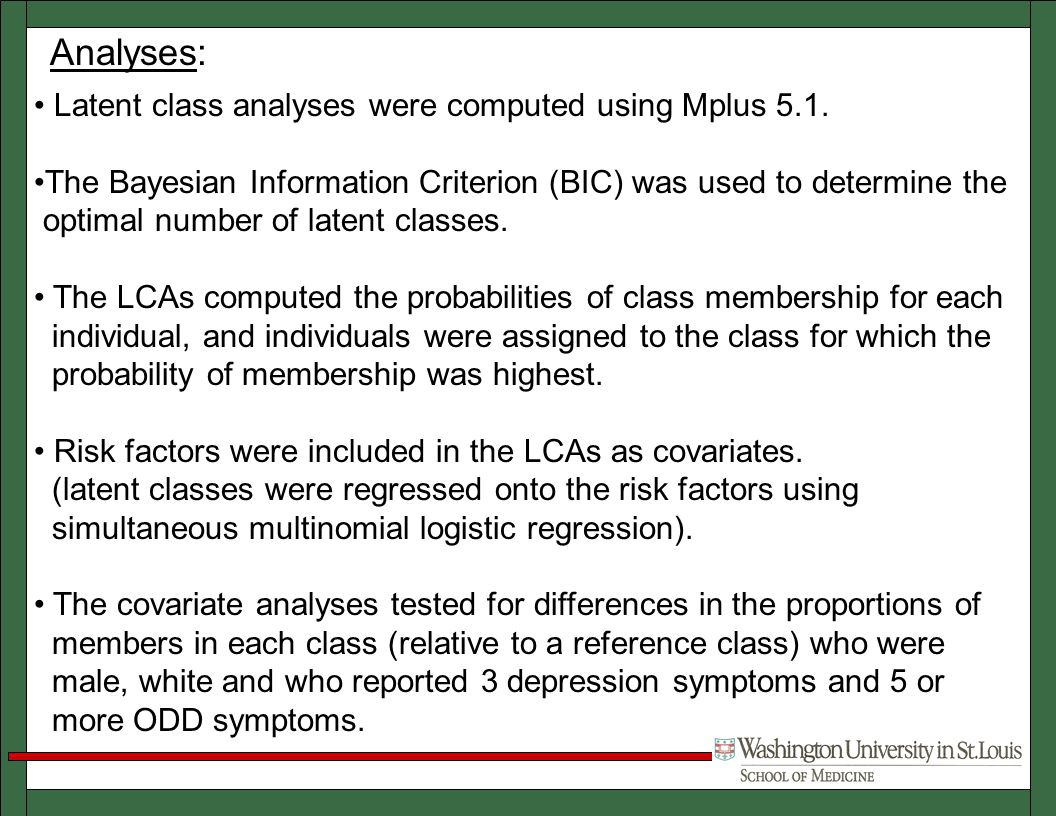 Analyses: Latent class analyses were computed using Mplus 5.1.