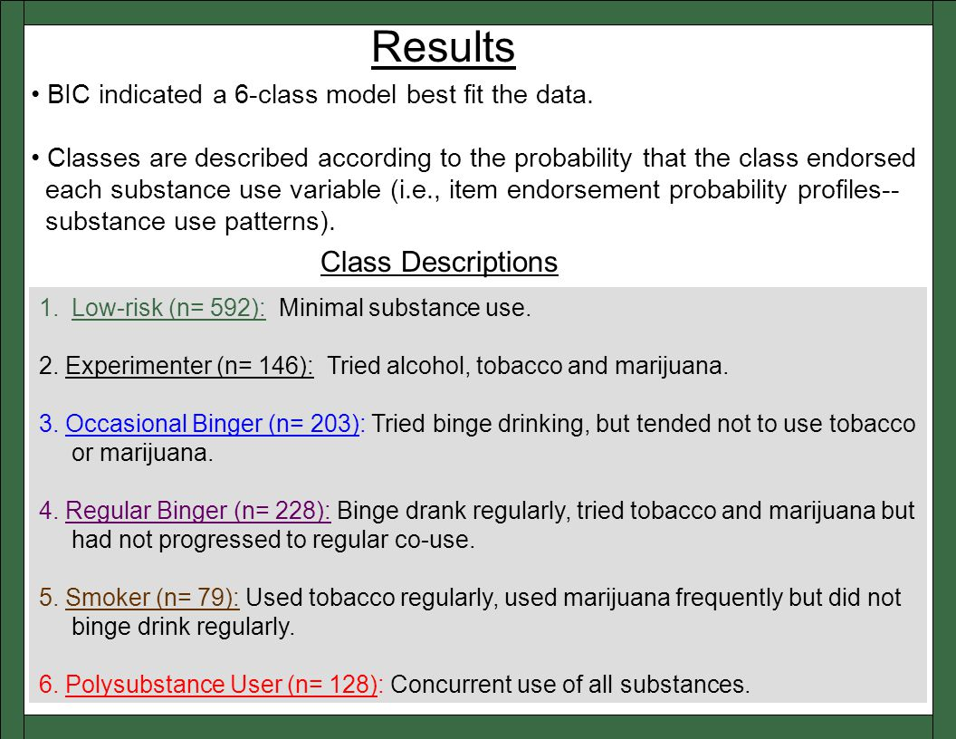 Results 1.Low-risk (n= 592): Minimal substance use.