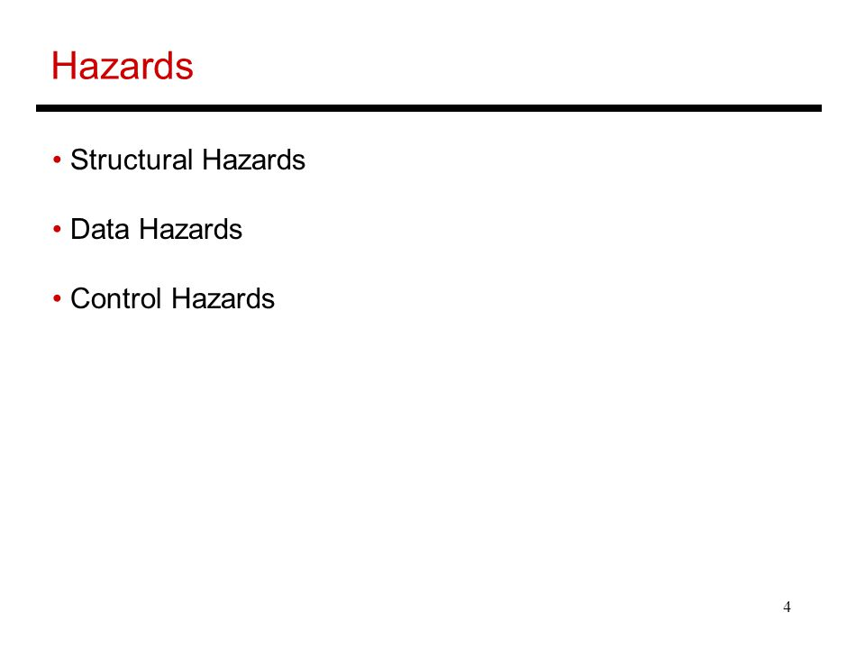 4 Hazards Structural Hazards Data Hazards Control Hazards