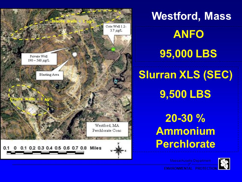 of Massachusetts Department ENVIRONMENTAL PROTECTION Water Supply Wells 0.44 to 8.9  g/L Chesterfield, MA Perchlorate in Public Water Supply Well, Private Wells, and Fireworks Display Location