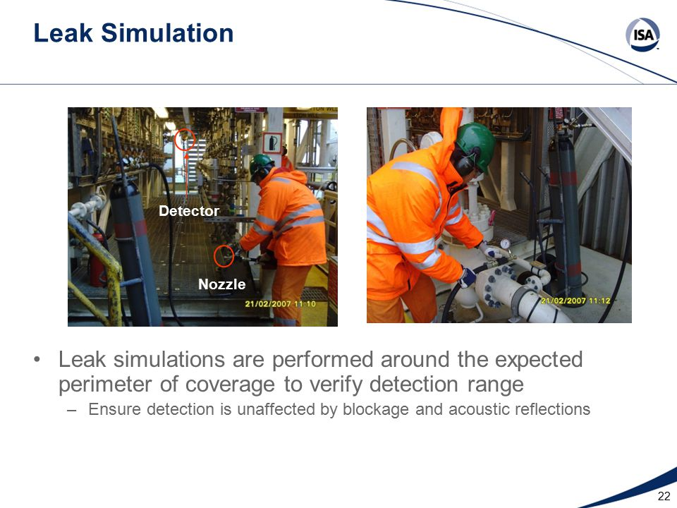 Leak Simulation Leak simulations are performed around the expected perimeter of coverage to verify detection range –Ensure detection is unaffected by blockage and acoustic reflections 22 Detector Nozzle