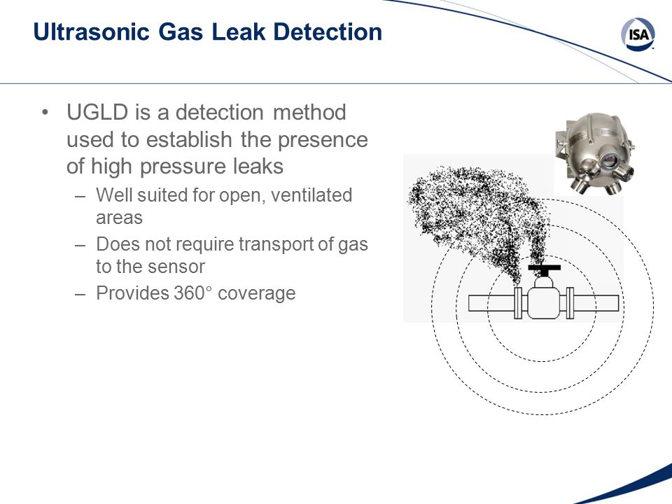 Ultrasonic Gas Leak Detection UGLD is a detection method used to establish the presence of high pressure leaks –Well suited for open, ventilated areas –Does not require transport of gas to the sensor –Provides 360° coverage