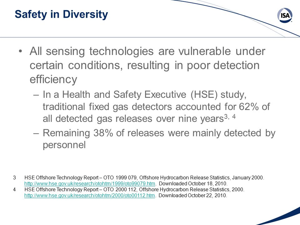 Safety in Diversity (Continued) Diverse detection methods offer the best safeguard against fire and explosion hazards –Having few common failures increases likelihood of detection on demand